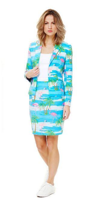 Dit Mrs. Flamingo Opposuits™ kostuum voor vrouwen zal ideaal zijn om te dragen en chique te blijven op een zomers feest! - Nu verkrijgbaar op Vegaoo.nl