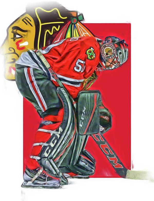 Corey Crawford Print featuring the mixed media Corey Crawford Chicago Blackhawks Oil Art by Joe Hamilton