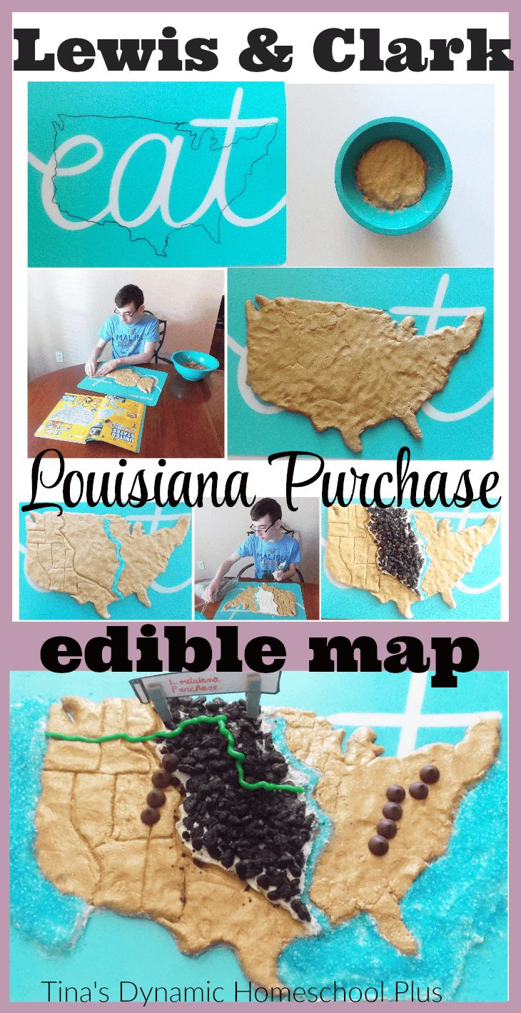 Lewis and Clark Louisiana Purchase Edible Map. A great visual to understand how vast it was. Grab the directions here for this edible deliciousness! @ Tina's Dynamic Homeschool Plus