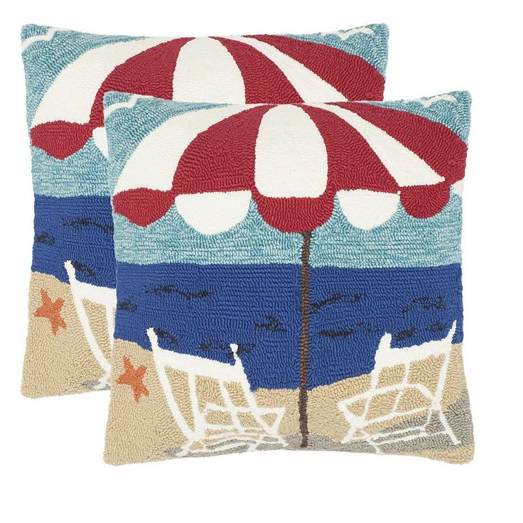 Safavieh 2-piece Beach Chair Outdoor Throw Pillow Set, Blue
