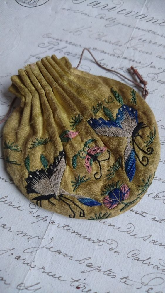 This exquisite petite antique French silk change purse dates from the early 1800s. In saffron gold silk it is hand embroidered on both sides with beautiful butterflies in flight. In the background are tiny flower sprigs. | eBay!