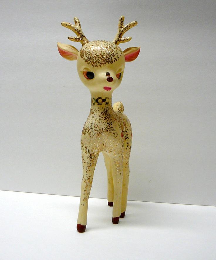 1950s vintage christmas decoration deer glitter rudolph reindeer woodland animal deer to me. Black Bedroom Furniture Sets. Home Design Ideas