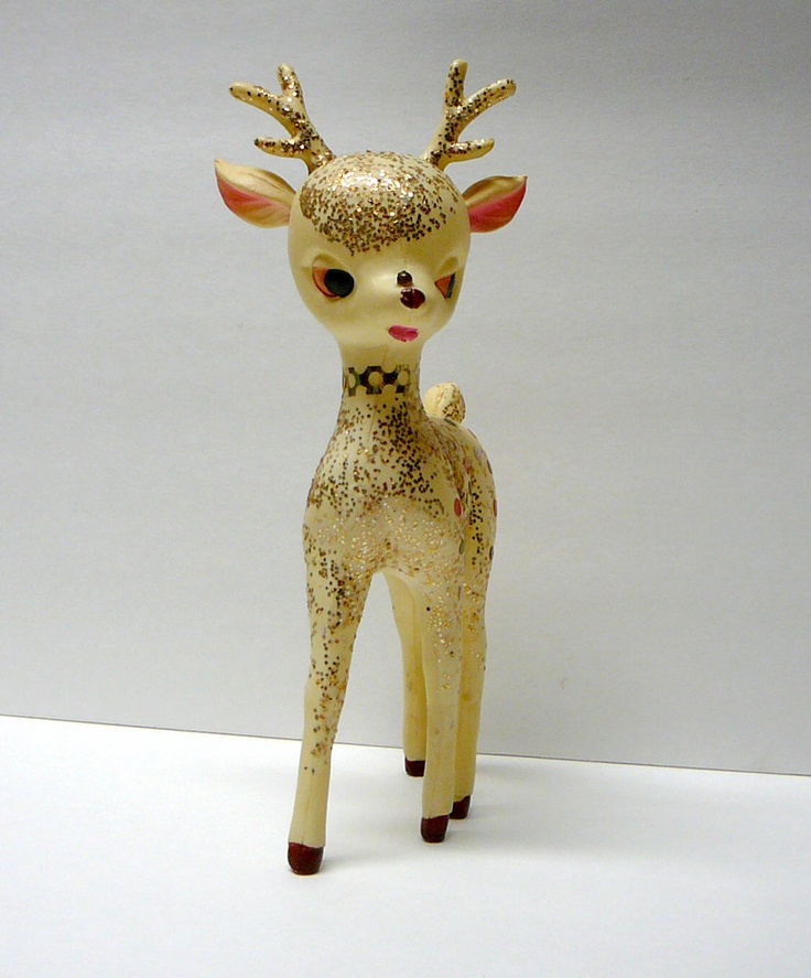 1950s Vintage Christmas Decoration Deer Glitter Rudolph