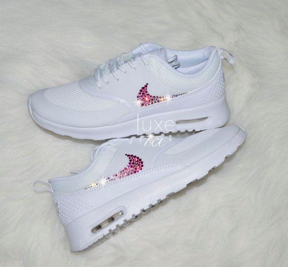 Nike Air Max Thea White with Gradient White/Pink SWAROVSKI® Xirius Rose-Cut Crystals. – Kymberlee McBride