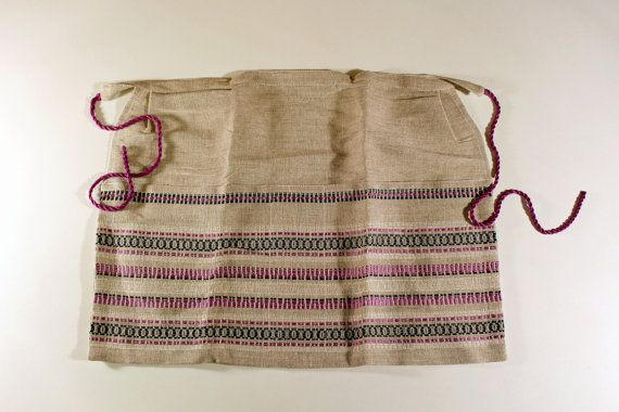 Swedish Vintage Linen Apron, Handmade Half Apron, Grey Purple with Pockets, Retro Ethnic Clothing, Gift for Her, Scandinavian Apron by LittleRetronome