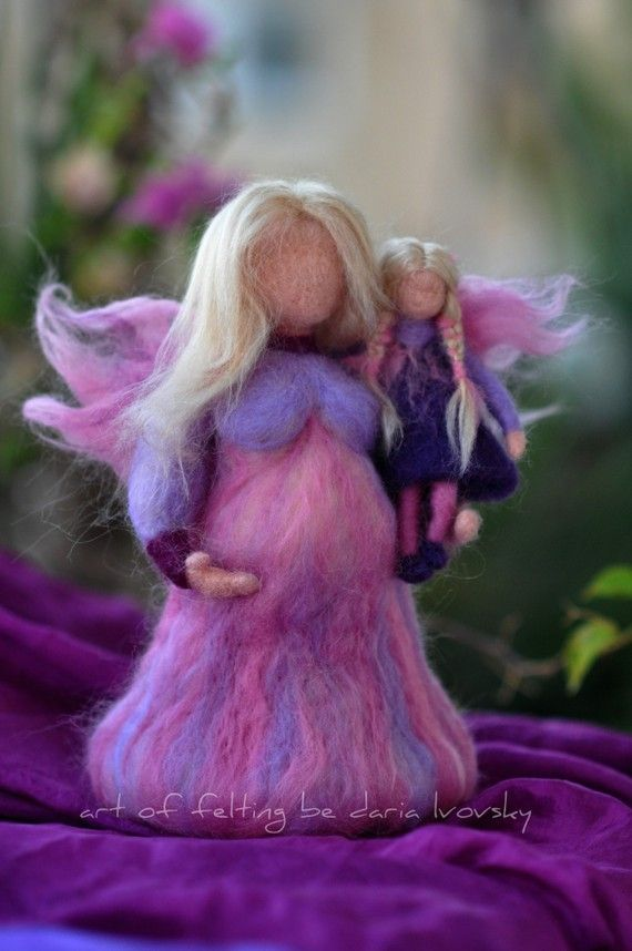 Needle felted Waldorf-Pregnant Fairy-Mother and child