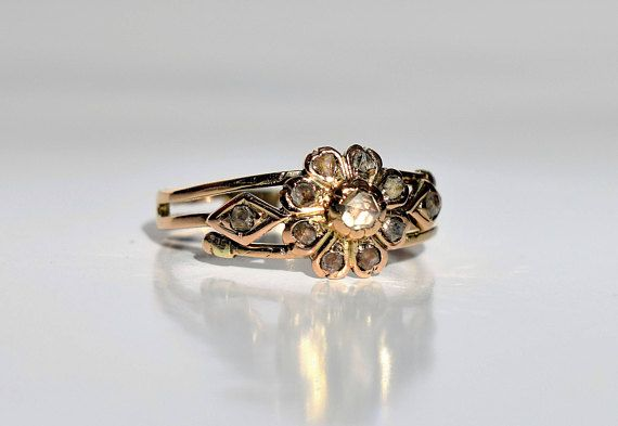Antique Victorian Diamond Ring Victorian Rose Cut Diamond
