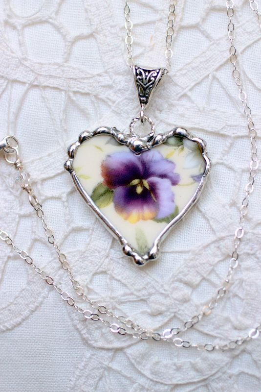 Broken China Jewelry Heart Pendant Necklace by Robinsnestcreation1