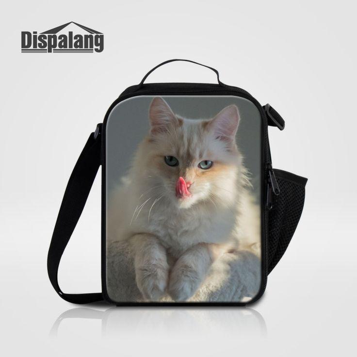 Dispalang Thermal Bag Women Men Small Cooler Lunch Bag Cat Animal Print Lunch Box Children Kids Insulation Package Picnic Bag