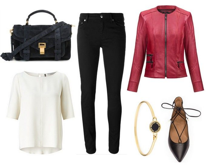 navy blue handbag, black trousers, red leather jacket - Nikita - Verssen, white blouse, gold bracelet, shoes with binding