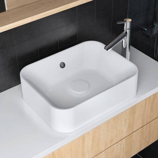 Vasque A Poser Rectangulaire Resine L 48 X P 38 Cm Blanc Capsule Home Decor Sink Decor