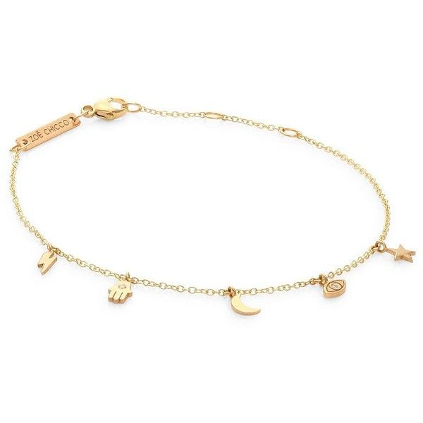 Zoe Chicco White Diamond & 14K Yellow Gold Charm Bracelet ($340) ❤ liked on Polyvore featuring jewelry, bracelets, yellow gold bangle, 14k gold jewelry, yellow gold jewelry, charm bracelet and yellow gold charm bracelet
