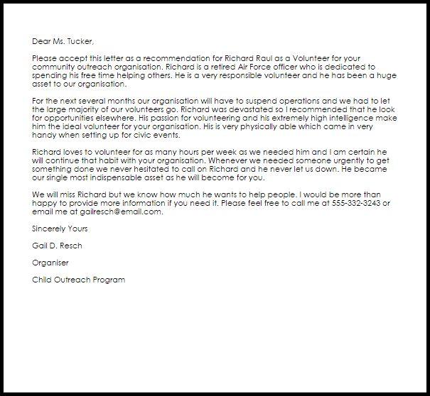Volunteer Recommendation Letter Letters Livecareer Service Award