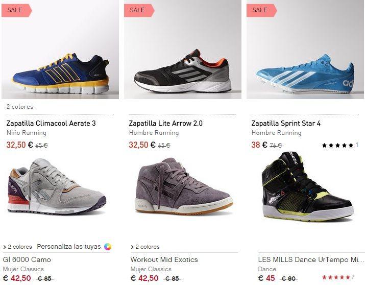 ofertas-zapatillas running baratas Adidas Reebok con descuentos del 50% #chollos #chollopedia #rebajas #chollodeldia
