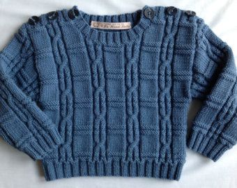 Boys Cabled Sweater / Luxury Cashmere Merino & Silk Yarn / Easy Access Shoulder Opening