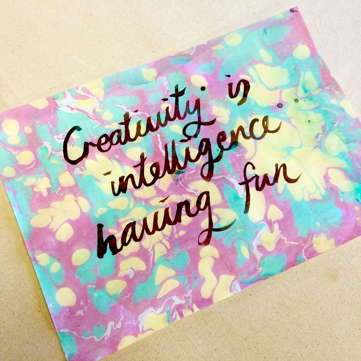 """Creativity is intelligence having fun"" - Marbled Paper with Watercolour lettering"