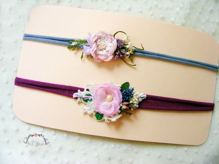 2 pieces newborn prop headband set, Photography prop set, Flower headband, Newborn elastic tieback,Baby tieback set, Newborn tieback set by AraSASA on Etsy