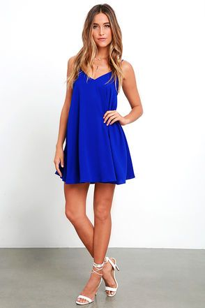 Sway Tuned Royal Blue Lace-Up Swing Dress at Lulus.com!