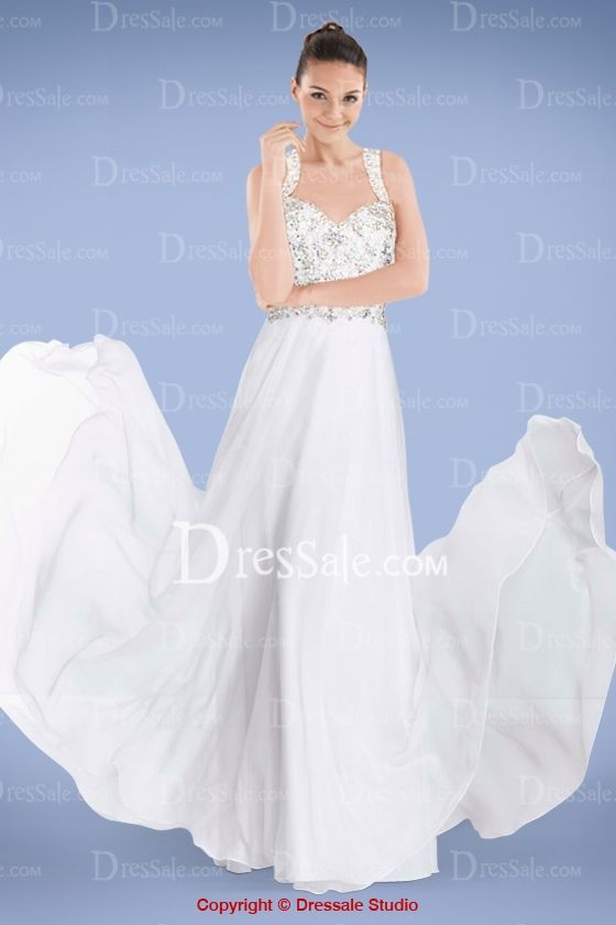 Ethereal A-line Chiffon Prom Gown Featuring Beaded Bodice and Crossed Back