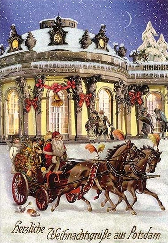 Christmas Post Сards ( Germany) — San Souci Christmas Sleigh (552x800):