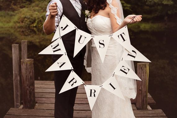 Just Married Banner Triangle Double Strand by tuckandbonte on Etsy, $30.00