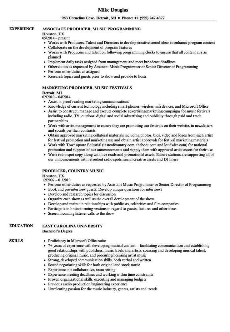 Music producer resume examples in 2021 resume examples
