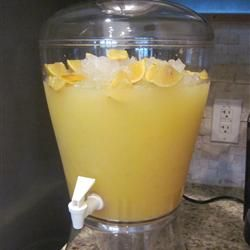 Luau Punch Recipe ~ pineapple juice, frozen orange juice and Sprite... tastes great!  Add Malibu for an adult only drink.  :-)