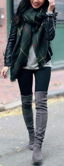 Plaid scarf   OTK boots. Clothing, Shoes & Jewelry : Women : Clothing :  http://amzn.to/2jHcXki