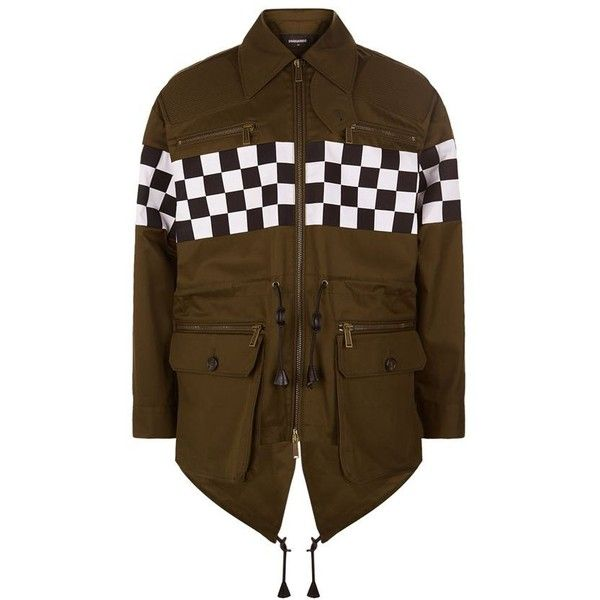 DSquared2 Oversized Check Panel Parka Jacket ($1,875) ❤ liked on Polyvore featuring men's fashion, men's clothing, men's outerwear, men's jackets, mens summer jackets, mens safari jacket, mens oversized denim jacket, mens utility jacket and mens parka jacket