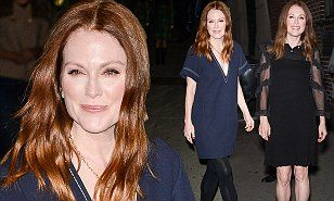 Julianne, 54, favoured a nautical theme as she headed to the Late Show with Stephen Colbert before emerging hours later dressed in a sheer-sleeved little black dress.