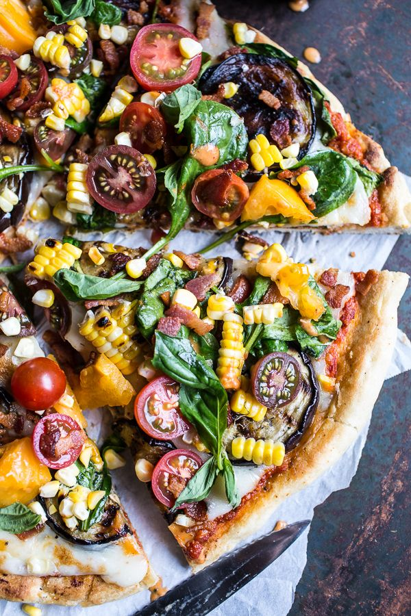 Summer Garden Pizza with Chipotle Peach and Bacon Dressing