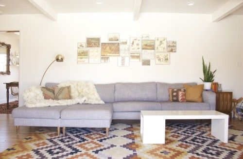 shut the front door. we could do this with our IKEA karlstad. i love the idea of making a double-chaise.