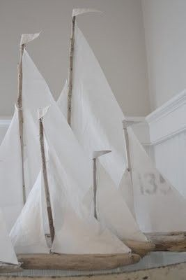 Love these driftwood sailboats.