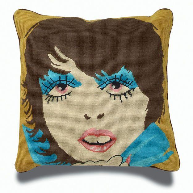 jonathan adler disco lady needlepoint throw pillow