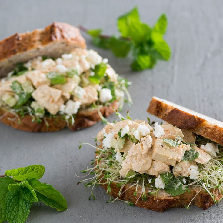 Chicken Salad Sandwich with Feta and Mint   This classic chicken salad sandwich is elevated with the addition of briny feta and fresh mint.