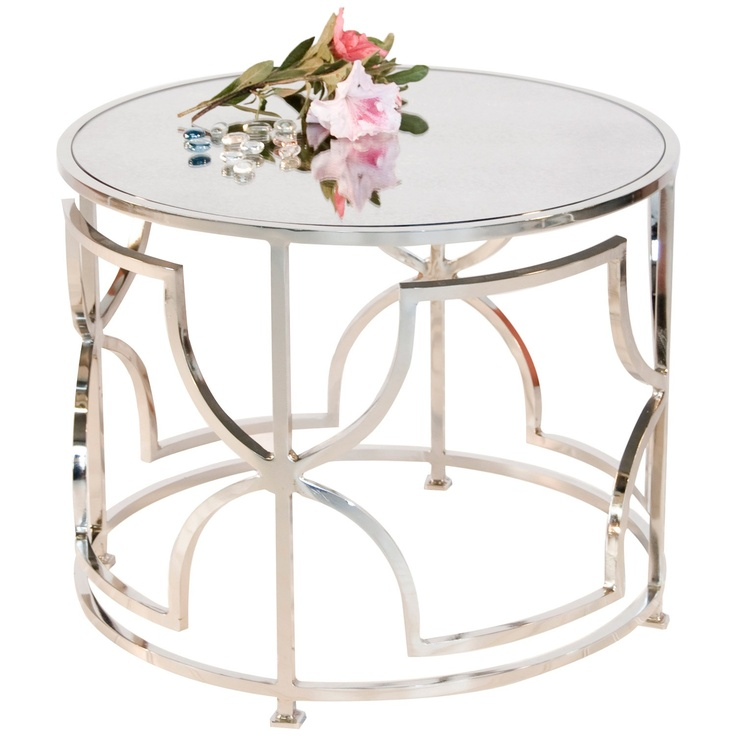 Worlds Away Tess Nickel Plated Round Cocktail Table With Antique Mirror Top
