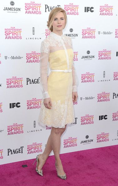 With its button up collar and lemon lining, this Valentino dress worn by Brit Marling is simply sweet.