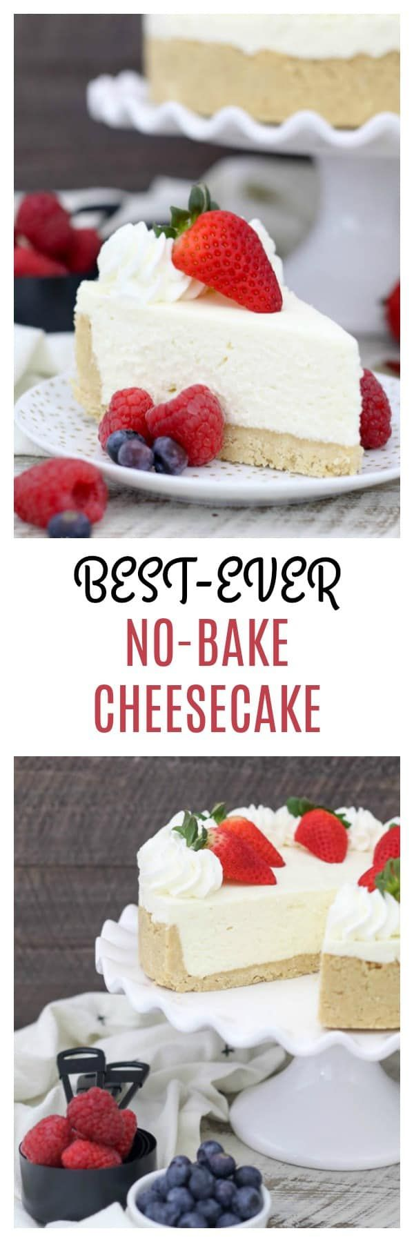 This is the Best Ever No-Bake Cheesecake made without Cool Whip and no gelatin, this homemade no-bake cheesecake is so easy, just a few simple ingredients plus the addition of white chocolate, this creamy no-bake cheesecake isn't too sweet and pairs perfectly with any fruit topping.