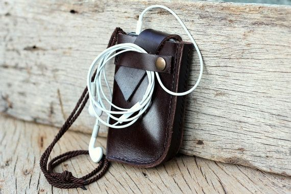 Anchor brown leather iPhone case with neck rope by SakatanLeather, $35.00