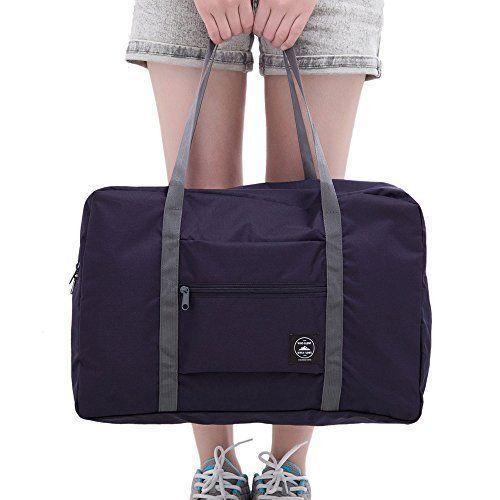 Foldable Waterproof Carry Storage Bag Zipper Gym Sports Travel Luggage New Black #TravelBag