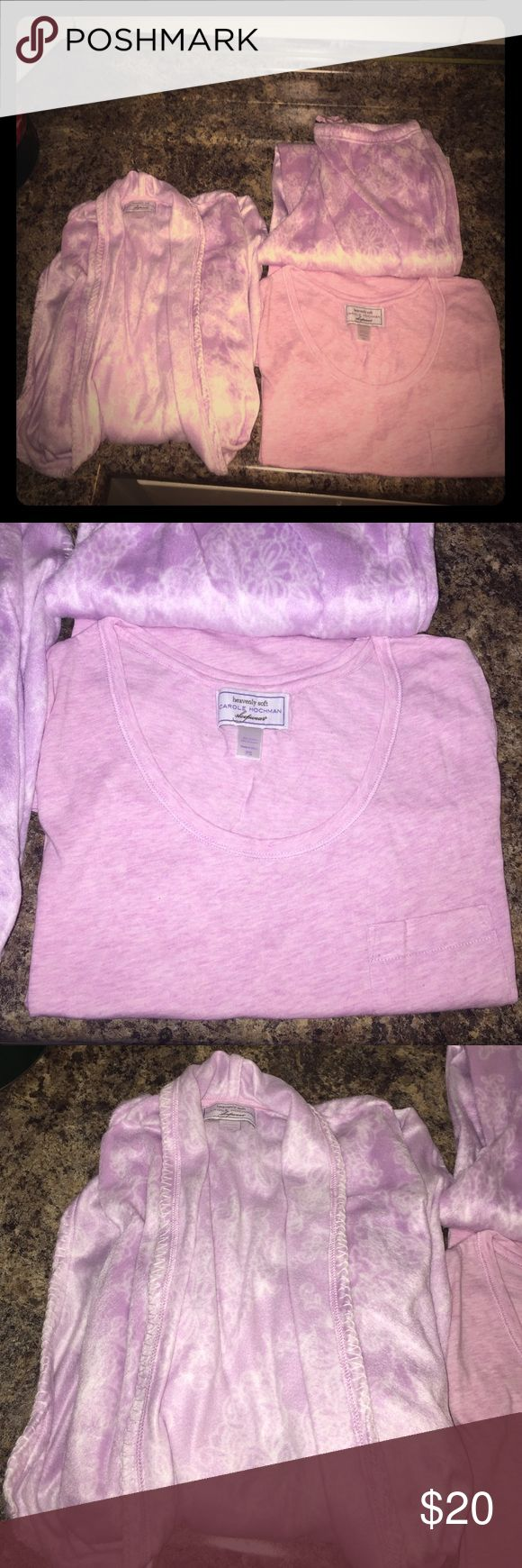 100% polyester women's PJ's, NWOT 100% polyester women's PJ set, NWOT, come with t-shirt, long pants and robe, pink, so soft Carole Hochman Intimates & Sleepwear Pajamas