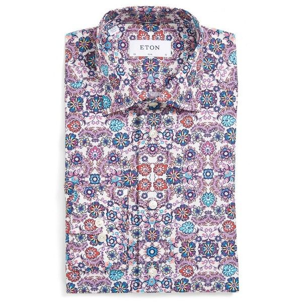 Men's Eton Slim Fit Flower Print Dress Shirt ($285) ❤ liked on Polyvore featuring men's fashion, men's clothing, men's shirts, men's dress shirts, pink, mens slim fit shirts, mens floral shirts, mens floral print shirts, mens floral print dress shirt and mens pink shirts
