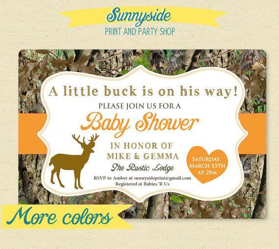Little Deer Hunter - Camo / Camouflage Baby Shower Invitation - Printable Invite - Buck or Doe