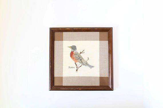 Vintage Cross Stitch of Bird | Robin | Handmade Wall Art | Framed Bird | Needlepoint | Sewing | Vintage Decor | Housewarming | Mother's Day