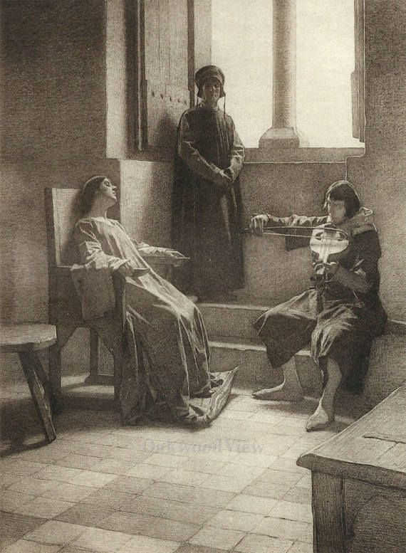 Lisa & The Musician by Tito Lessi, Antique 10x12 Sepia Engraving c1890s, From The Decameron by Giovanni Boccaccio, FREE SHIPPING $11.75