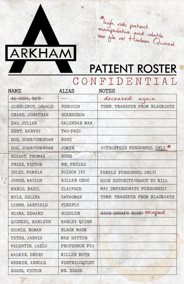 """Another of my posters! Batman fans will recognize this as a roster of the Dark Knight's Rogue Gallery! (Specifically, the members that appear in the Arkham games.) Added a few """"doctor's notes"""", as ..."""