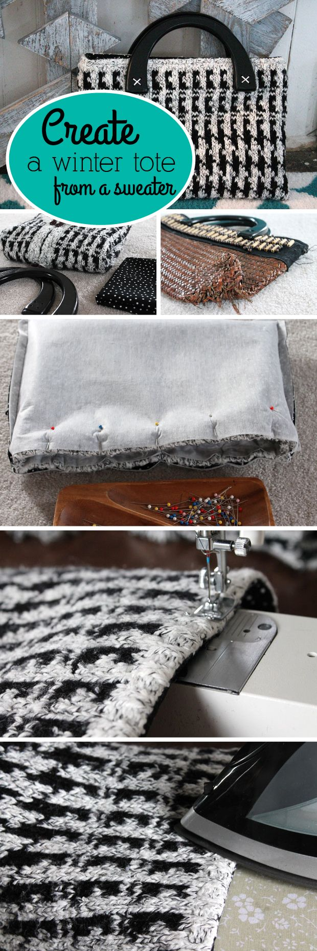 Take an old, beat-up purse and transform it into a cute winter tote made from an old sweater! Seriously, such a great upcycle idea!  http://www.ehow.com/ehow-crafts/blog/create-a-winter-tote-from-an-old-houndstooth-sweater/?utm_source=pinterest.com&utm_medium=referral&utm_content=blog&utm_campaign=fanpage