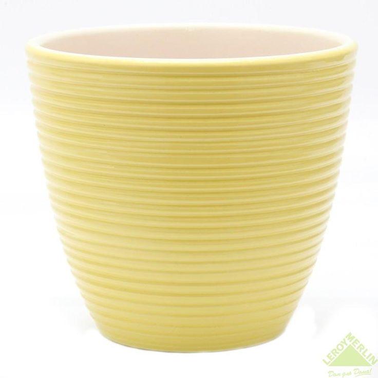 Горшок керамический с поддоном Спираль, диаметр 18 см, 2 л, цвет желтый