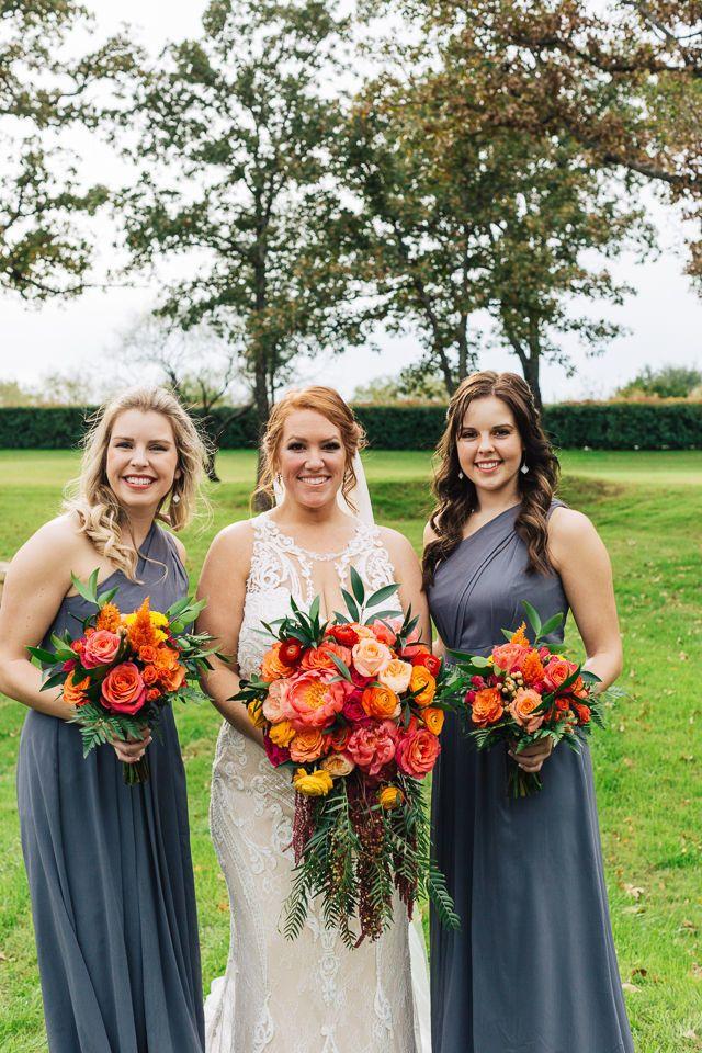 Weatherford Wedding Venue Orange Bridesmaid Dresses Wedding