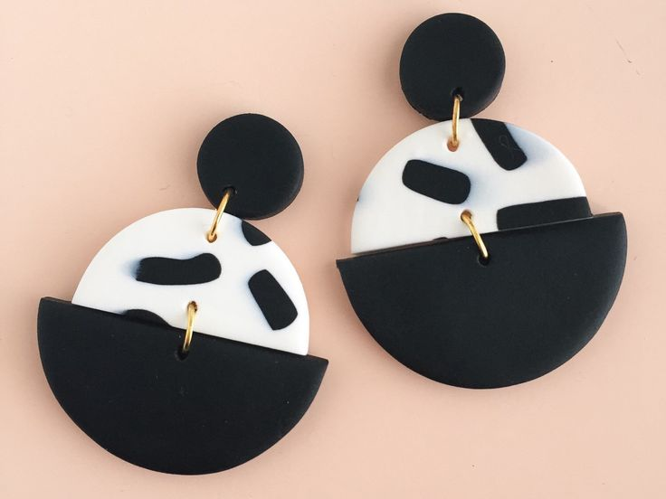 Polymer Clay Statement Earrings in a black and white colour palette. by colourwork on Etsy https://www.etsy.com/au/listing/482282085/polymer-clay-statement-earrings-in-a